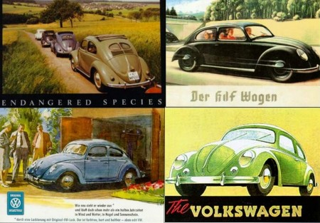 alte VW Postkarten Werbung