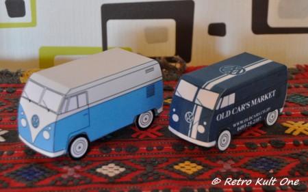 zusammengebauter VW Bus T1 Bastelbogen