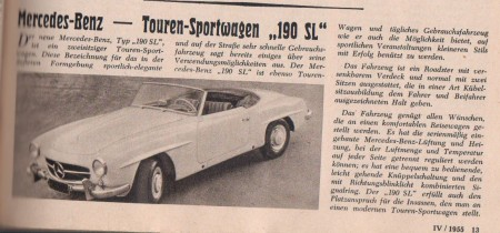 Mercedes-Benz Touren Sportwagen 190 SL