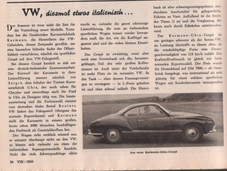 VW Karmann Ghia Vorstellung