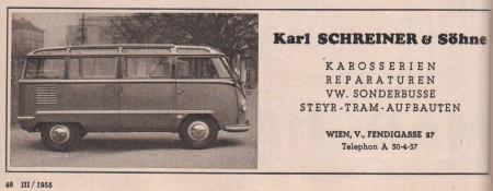 VW Bus T1 Samba Sonderaufbau Sonderkarosserie Karl Schreiner & Söhne