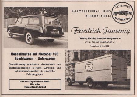 alte Werbung Mercedes-Benz Karosseriebau Jauernig