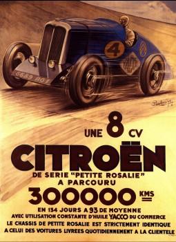 Plakat zur Rekordfahrt des Citroën 8CV